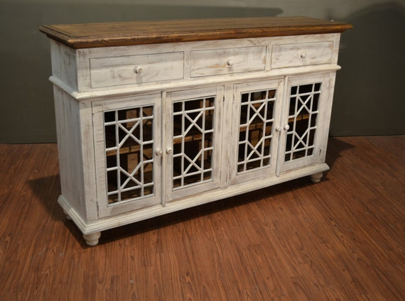 Rustic Solid Wood Distressed White TV Console / China Cabinet