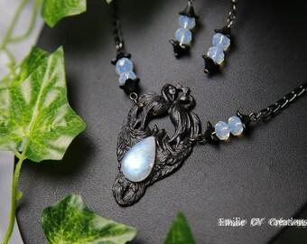 Ornament black stone Peacock Moon / opalite / necklace / earrings - Adornment black Peacock moonstone / opalite / necklace / earrings