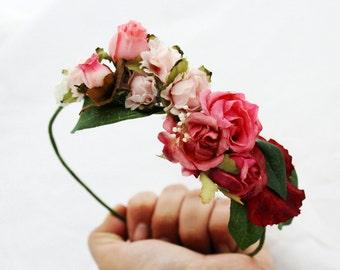 Peony,headress,bride,headpiece,flower crown,rose,pink,burgundy,green,leafs,boho,chic,romantic,woodland,burgundy,marsala,rose,peonies,fairy