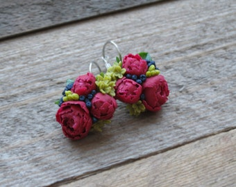 Gift ideas for her Gift for women Gift jewelry Gift earrings Small flowers earrings Floral jewelry Bridesmaid earring Garden jewelry flower