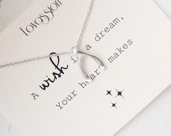 Wishbone Necklace, tiny wishbone necklace, small wishbone necklace, dainty wishbone necklace, silver, gold, wishbone, quote, necklace