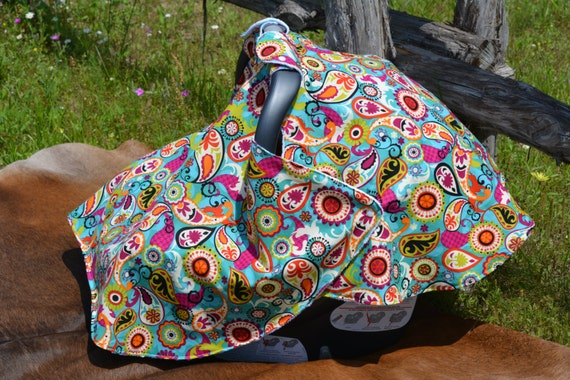 car seat canopy car seat cover paisley girl. Black Bedroom Furniture Sets. Home Design Ideas