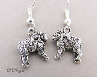 Monkey Earrings, Gorilla Earrings, Monkey Jewellery, Sterling Silver Earrings, Ape Earrings, Monkey Gifts, Animal Jewellery, Animal Gifts,