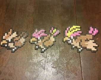 Perler Bead Pokemon Sprites Pidgey, Pidgeotto, and Pidgeot