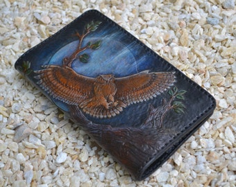 """Real leather wallet """"The Owl"""""""