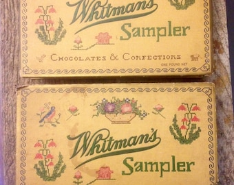 Pair of vintage Witmans Samplers chocolate candy boxes.