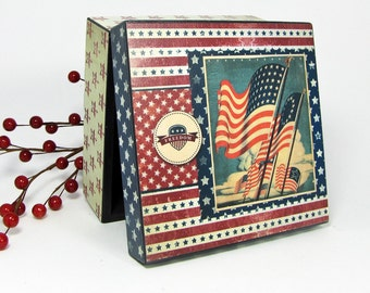 American Flag Decoration - Jewelry Box - Trinket Box - Holiday Decoration - Patriotic Decor - Americana - Stars and Stripes - 4th of July