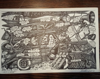 1984 Orwell: Off-set Lithographic Print from Original Pen and Ink Drawing Print signed by Gerald L. Wise Vintage Retro Political Satire 1970