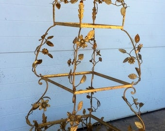 Vintage Gold Gilt Flower Etagere Display