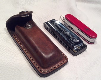 Leather Harmonica Or Knife Holster Case With Us By
