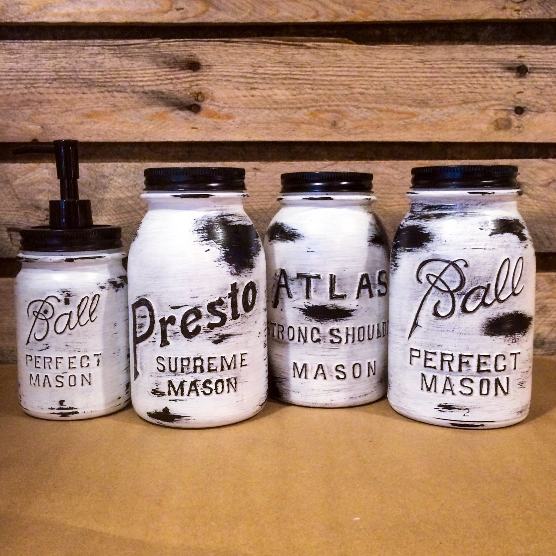 Mason Jar Kitchen Decor Set: Vintage Mason Jar Canisters Rustic White Mason Jars Mason