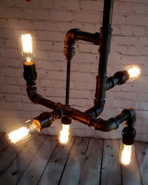 Five light industrial black iron pipe by dragonflydesignpa for Iron pipe ceiling light