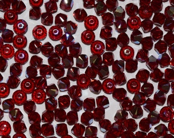 Siam Red AB2X Bicone Swarovski beads 3mm, 50 beads, 100 beads