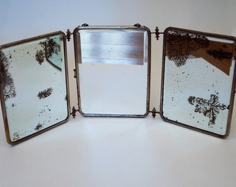 Antique Beveled Glass Tri-Fold 3 Panel Vanity Mirror, with mock snakeskin backing.