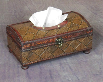Faux Leather Tissue Box Holder