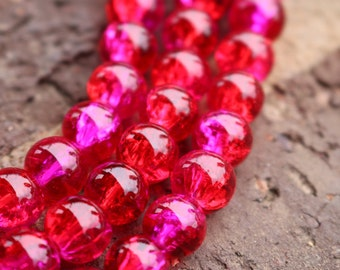 8mm Glass Beads,  Bright Red and Pink, Two Tone Beads, Glass Beads, 8mm Beads, 8mm Round Beads, 8mm Red Beads, Pink Beads,  AA006A