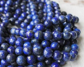 Lapis Lazuli, 10mm Faceted, Blue Beads, Full Strand,
