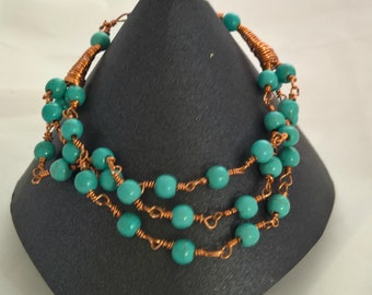 Handmade Copper Wire and Turquoise multi strand bracelet, wire wrapped turquoise and copper Bracelet with Magnetic Clasp