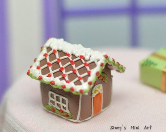 35% OFF 1:12 Dollhouse Miniature Gingerbread House-Diamond Iced Roof/ Dollhouse miniature gingerbread house/ Miniature food BD K2806