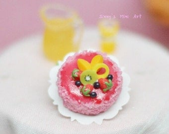 1:12 Dollhouse Miniature Fruit-Topped Strawberry Gel Cake/ Dollhouse miniatures/ Miniature Cake BDK2188