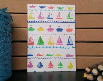 Card Pattern Little Boats - A6 Postcard - Blank Card - Just Because Card  - Card Recycled Paper.