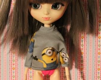Minion long Sleeve Sweatshirt for  all 1/6 dolls   Barbie, momoko,  pullip, blythe