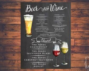 Beer and Wine sign, Printable Bar Menu sign, Wedding Bar sign, Bar Menu sign, Beer sign, Wine sign, Chalkboard sign, Wine menu, Beer menu