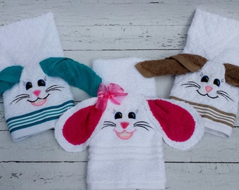 Bunny hand towel with washcloth for the ears.