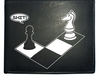 CHECK MATE - knight and pawn funny chess player Men's Leather Wallet- WBF1197