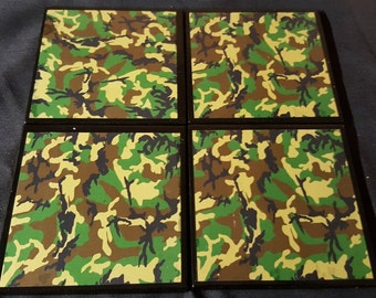 Camouflage Ceramic Tile Drink Coasters / Set of 4 / Camo Coaster / Camouflage Coasters