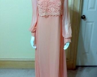 Sherbert Orange Crepe & Lace maxi dress 60s mod patterned dress mod maxi dress 60s evening gown Crepe and Lace,Empire Waist MaxiDress Small
