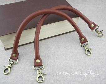 Faux Leather Handbag Handles - Brown - one pair