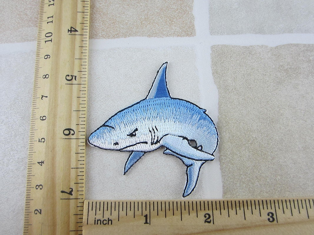 Blue shark patch fish embroidered iron on patch from for Does fish have iron