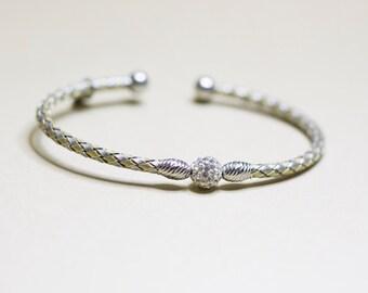 Sterling Silver & Cubic Zirconia Two Tone Cuff Bracelet