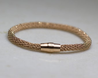 Rose Gold Sterling Silver Mesh Bangle, Bracelet