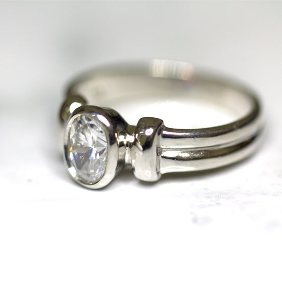 Items similar to Sterling Silver & Cubic Zirconia Engagement Ring Simple