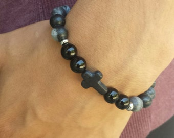 FREE SHIPPING- Men's Bracelets, Men's Black Stone Bracelet, Beaded Stone Bracelet, Bracelet For Men, Men Cross Bracelet,B racelet For Men