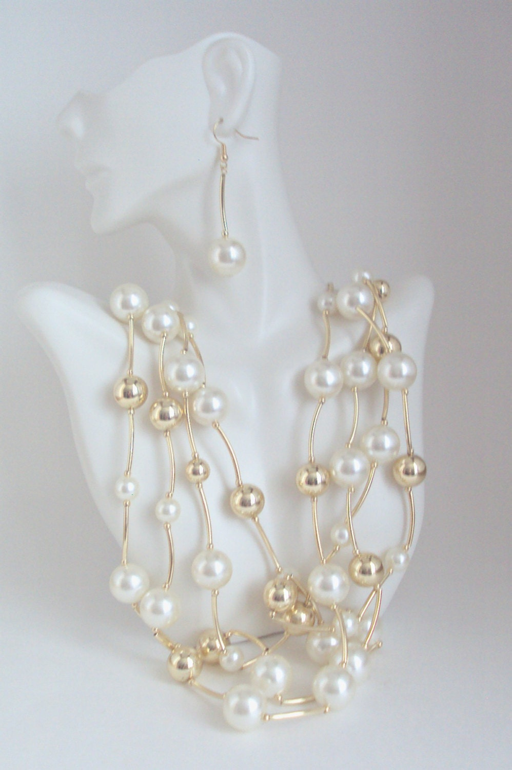 pearl necklace multi strand ivory pearl and gold beads