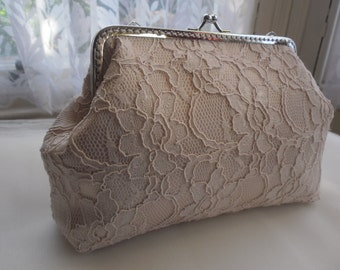 Rose pink Lace Bridesmaid Clutches / Lace Wedding Clutches / Wedding Gift / Bridal Clutch