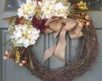 Fall grapevine floral wreath with burlap bow, year round front door wreath, door wreath, fall wreath, hydrangea wreath