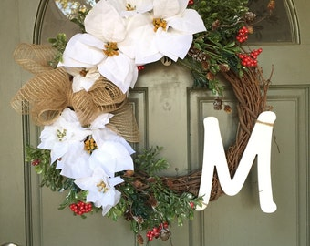30% OFF! Customized Monogram Holiday Christmas Door Wreath w/ white or red poinsettia & frosted evergreens, holiday decor