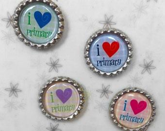 I Love Primary Magnets - Mormon Magnets - LDS Magnets - Refridgerator Magnets - Locker Magnets - Bottlecap Magnets - Set of 4