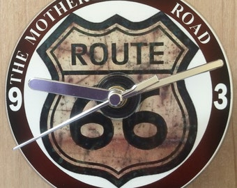 Route 66 Road Sign, The Mother Road, CD Clock (Can be Personalised)