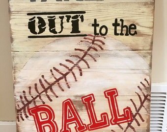 Wood sign Ball Game