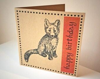 Woodland Fox Happy Birthday card, recycled brown kraft card, rust orange fox birthday, fox illustration greetings card, square card UK