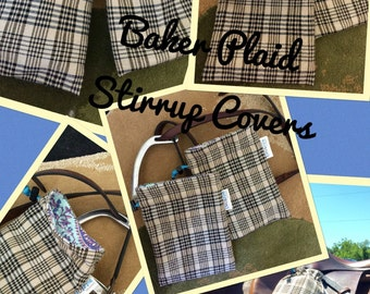 Equestrian inspired Stirrup Covers/ Gift Bag made with Original Baker Plaid Horse Sheet (recycled)