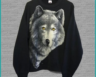 Vintage Wolf Full Graphic Crewneck Sweatshirt Large