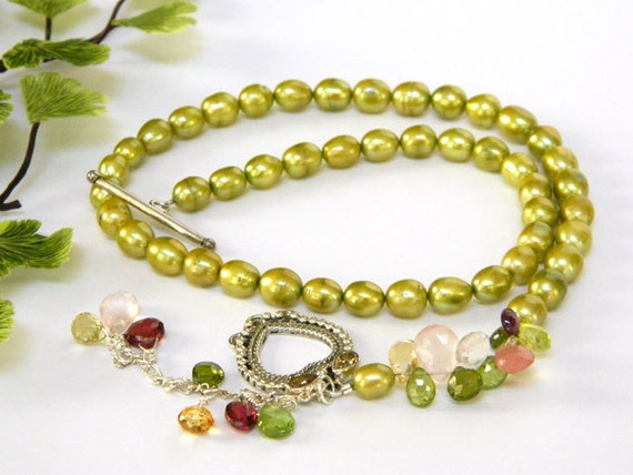 Green Pearl Lariat, Multi Gemstones, Sterling Silver, Handcrafted Necklace, Lime Green, Freshwater Pearls, Short, Heart Shaped Toggle
