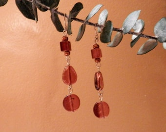 Amber-colored Glass Beads and Silver Dangle Earrings