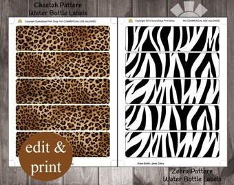 Safari Cheetah Pattern Zebra Pattern Water Bottle Labels